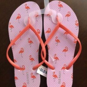 Old Navy Flamingo Flip Flops Pink Great Gift!